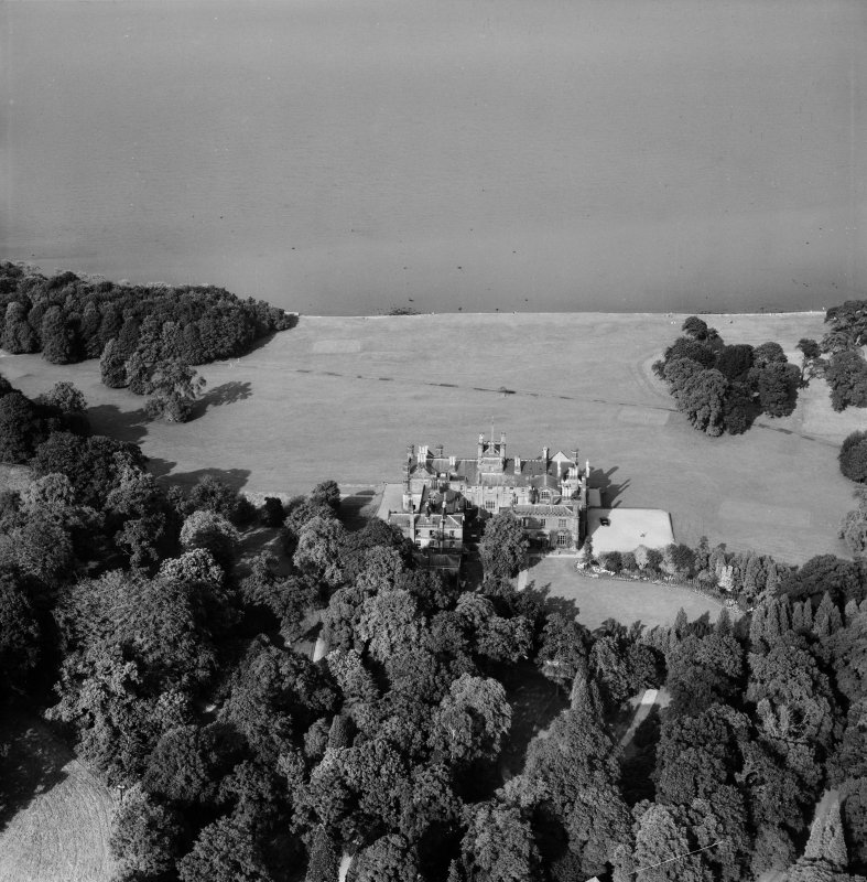 Dalmeny House, Edinburgh.  Oblique aerial photograph taken facing north-east.