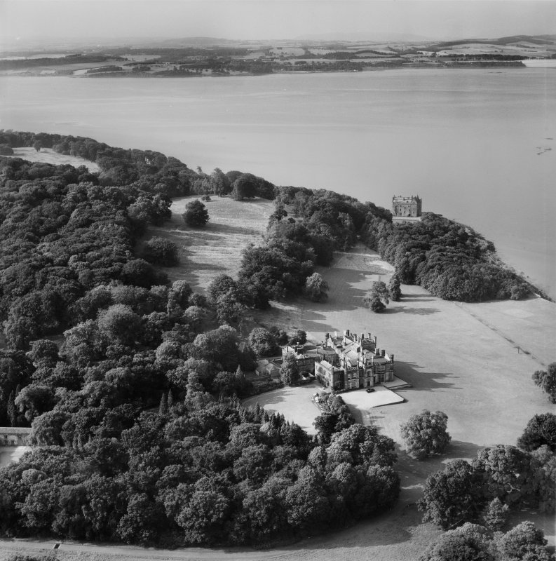 Dalmeny House and Barnbougle Castle, Edinburgh.  Oblique aerial photograph taken facing north.