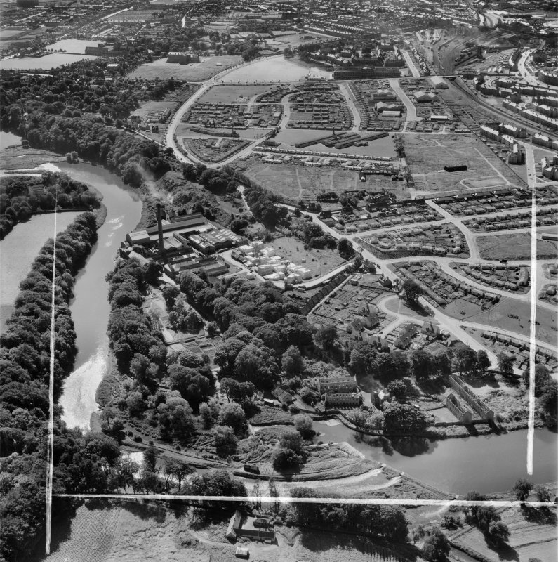 Aberdeen, general view, showing Donside Paper Co. Ltd. Donside Mills and St Machar Park.  Oblique aerial photograph taken facing south.  This image has been produced from a crop marked negative.