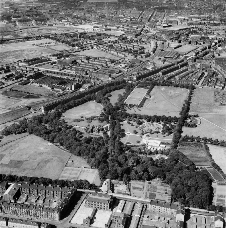 Tollcross Park, Glasgow.  Oblique aerial photograph taken facing west.