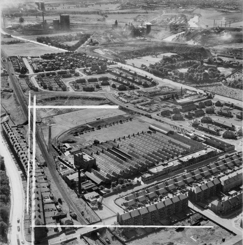 Glasgow, general view, showing Macfarlane, Lang and Co. Victoria Biscuit Works, Clydeford Drive and Clyde Iron Works.  Oblique aerial photograph taken facing south.  This image has been produced from a crop marked negative.