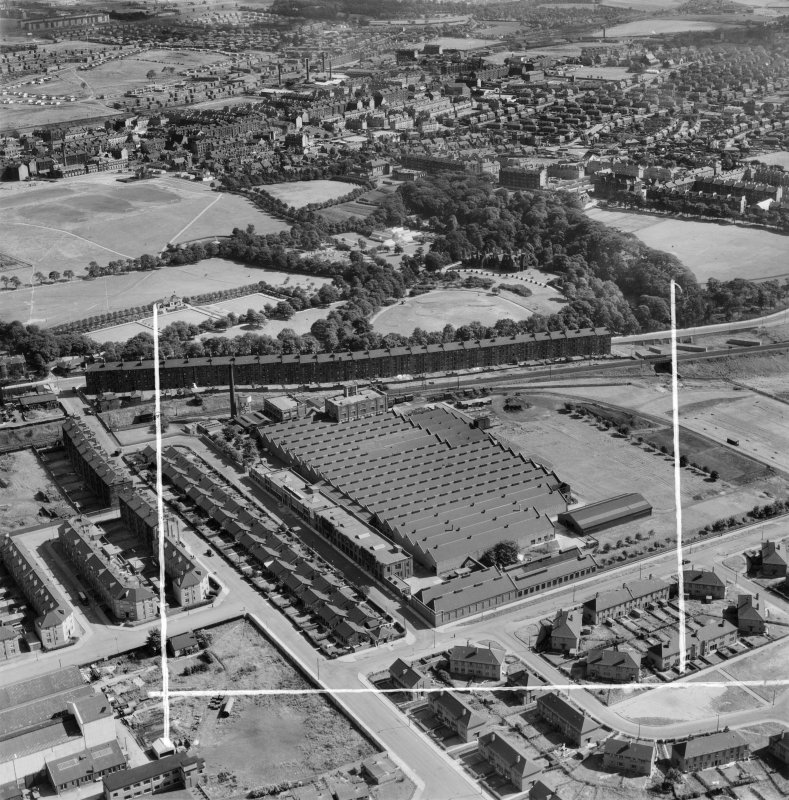 Macfarlane, Lang and Co. Victoria Biscuit Works, Clydeford Drive and Tolcross Park, Glasgow.  Oblique aerial photograph taken facing east.  This image has been produced from a crop marked negative.