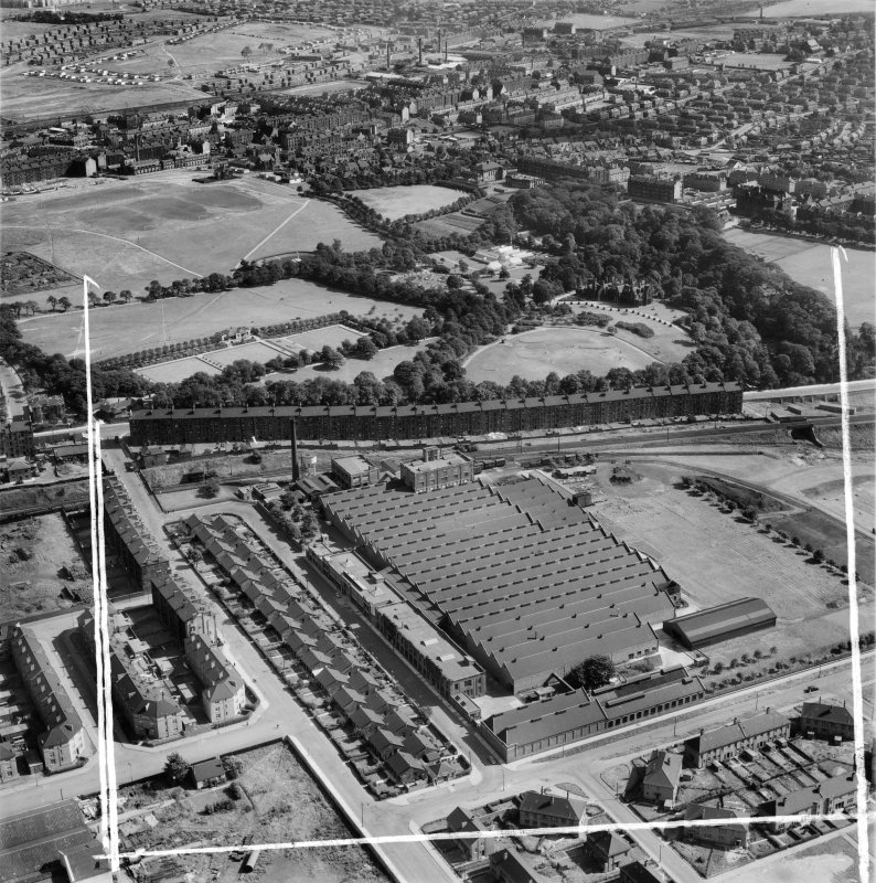 Macfarlane, Lang and Co. Victoria Biscuit Works, Clydeford Drive and Tolcross Park, Glasgow.  Oblique aerial photograph taken facing north-east.  This image has been produced from a crop marked negative.