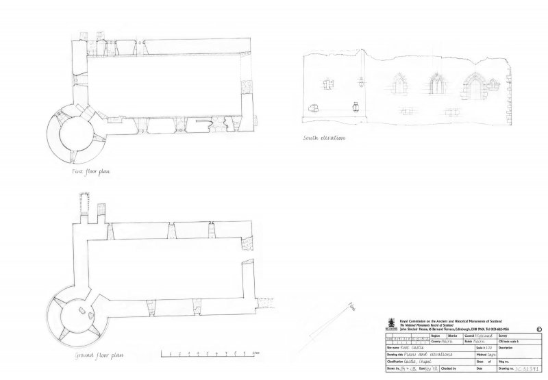 Ground and First floor plans. South elevation