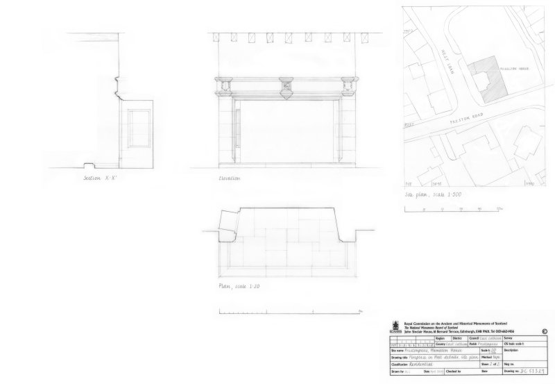 Plan, elevation and section of Fireplace in Hall, site plan