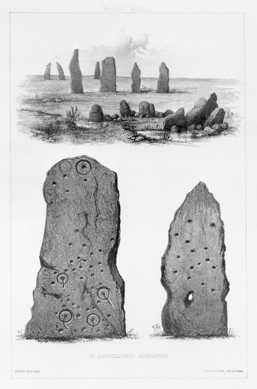 Cup and ring marked standing stones 'at Lochgilphead'.  From J Stuart, The Sculptured Stones of Scotland, vol. ii, plate cxix.