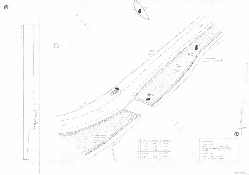 600dpi scan of site plan DC44536 - Plan, elevation and section of Cairnfauld stone circle