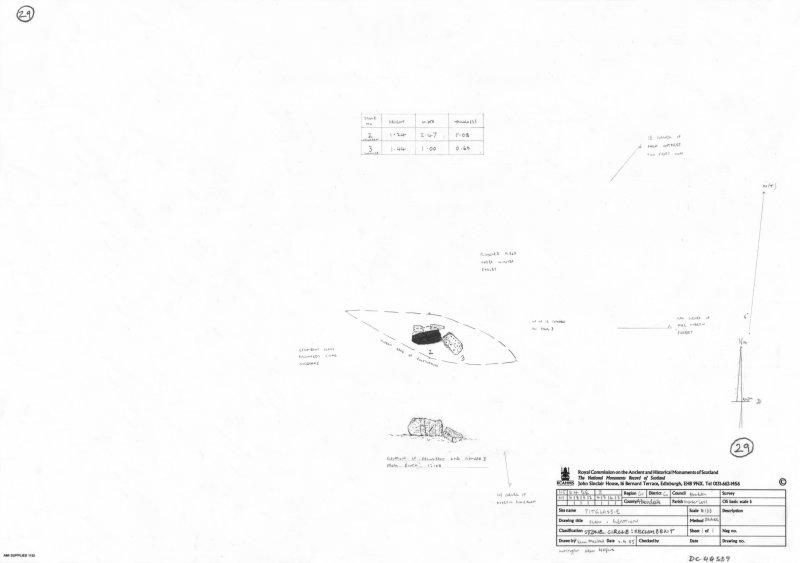 600dpi scan of site plan DC44559 - Plan, elevation and sections of Pitglassie stone circle