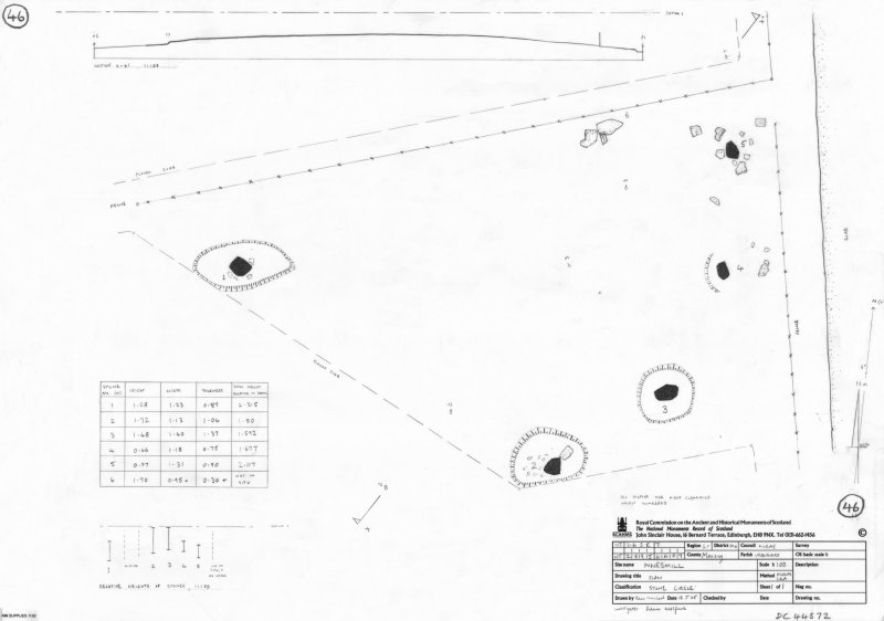 600dpi scan of site plan DC44572 - Plan, elevation and sections of St Brandan's Stanes stone circle
