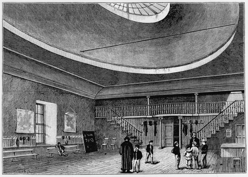 Photographic copy of engraving from Grant's Old and New Edinburgh showing general view of interior when in use as school