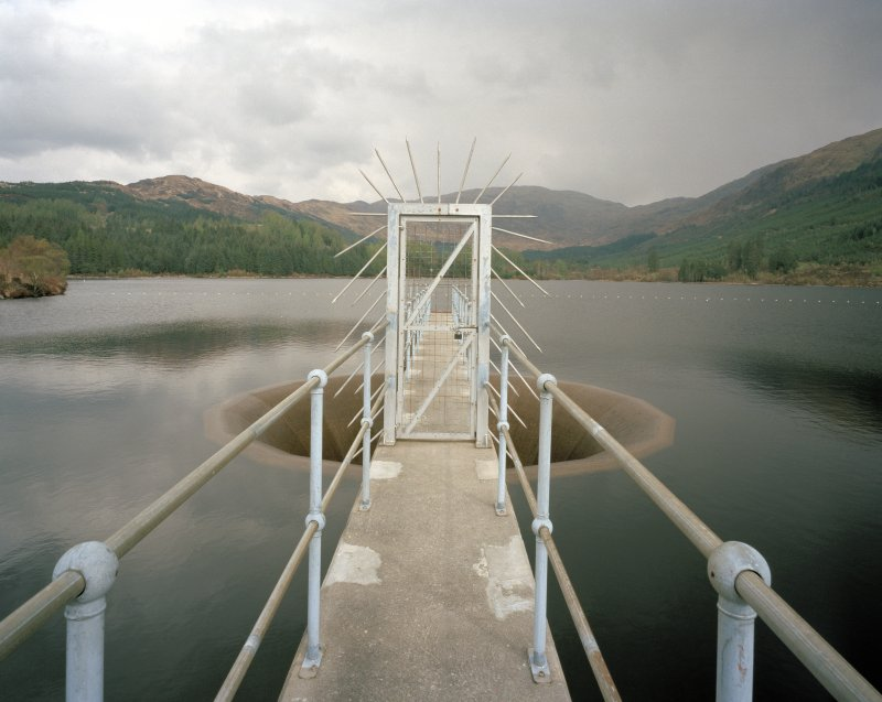 View of dam (NM 97 42) supplying water to works showing entrance to spillway from W, Alginate Works, Barcaldine.
