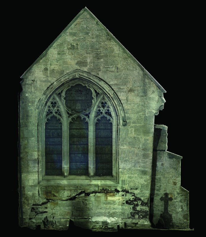 1:50 scale orthographic elevation produced by laser scanning. East elevation of the Winton Aisle at Pencaitland Church.