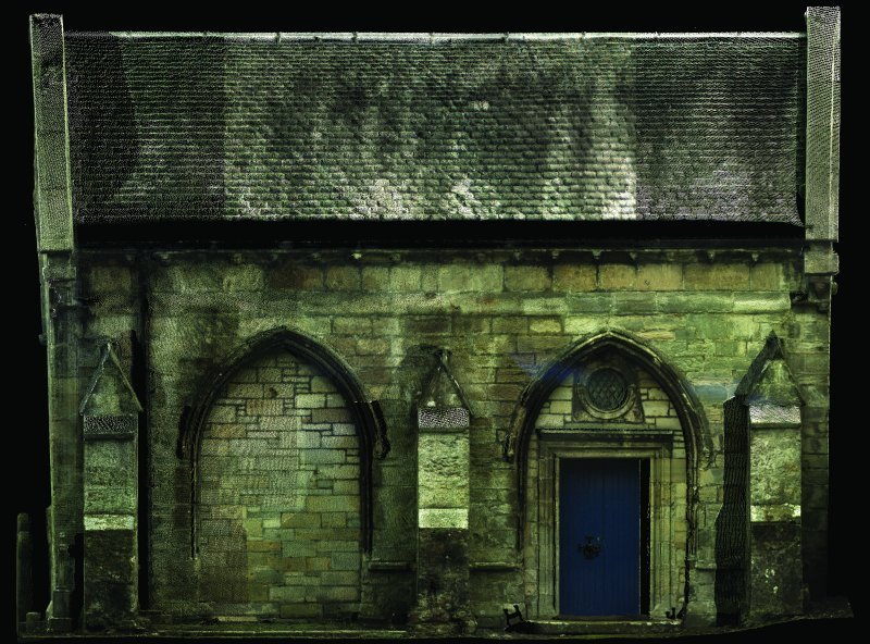 1:50 scale orthographic elevation produced by laser scanning. North elevation of the Winton Aisle at Pencaitland Church.