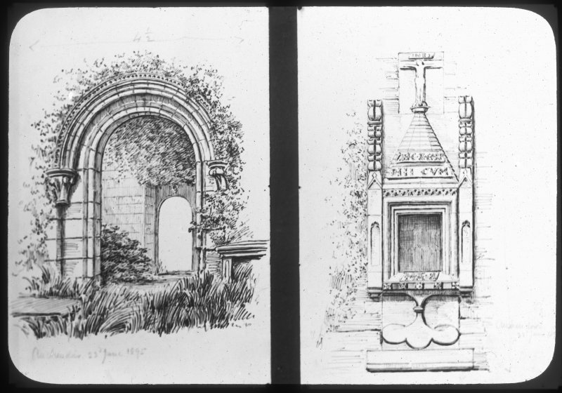 Sketch of doorway and sacrament house.