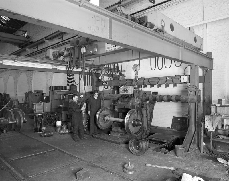 Glasgow, Springburn, St Rollox Locomotive Works, interior. Operating the wheel press in the wheelwrights shop.