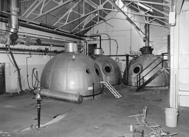 Interior-view of coppers (made from copper) in Brew House of Holyrood Brewery, Edinburgh. Since demolished.