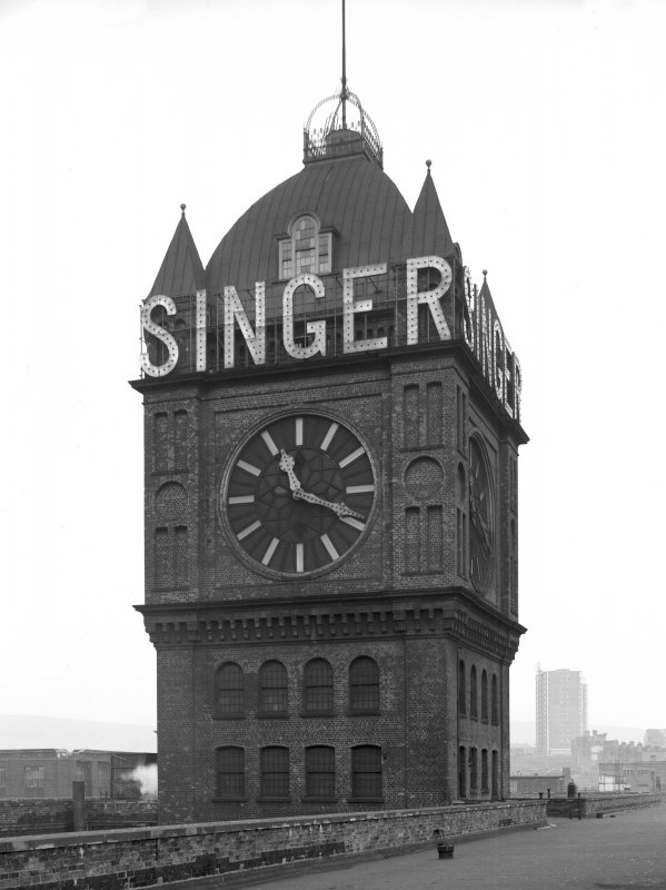 View of clock-tower at Singer's Sewing Machine Factory, Clydebank. Demolished 15 March 1963.