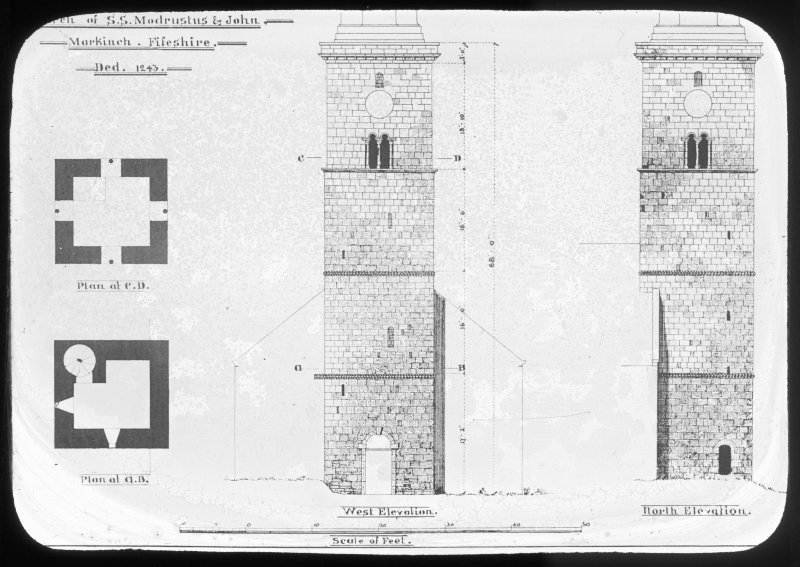 Plans, West elevation and North elevation of church tower.
