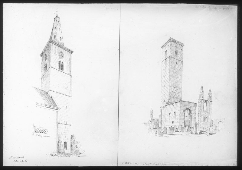 St. Drostan's Church tower, Markinch,  from North East, and St. Regulus' tower, St Andrew's. Lantern Slide.