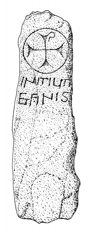 Scanned ink drawing of Kirkmadrine 1 inscribed cross slab