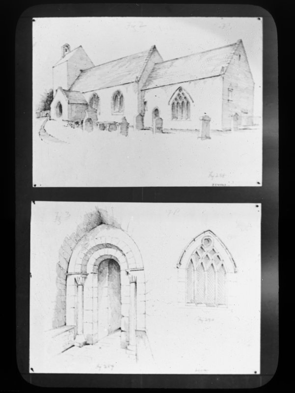 General view from E and details of porch doorway and chancel window.