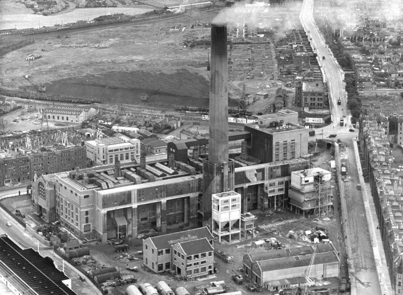 Oblique aerial view of the Portobello Power Station from NE, in 1950. Since demolished.