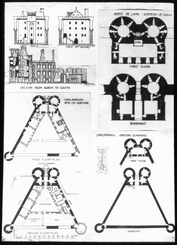 Plans and elevations of Caerlaverock Castle.