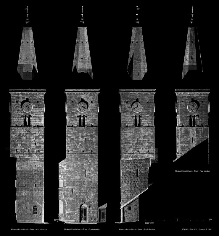 Elevation images of the tower at St Drostan's Parish Church produced by laser scanning