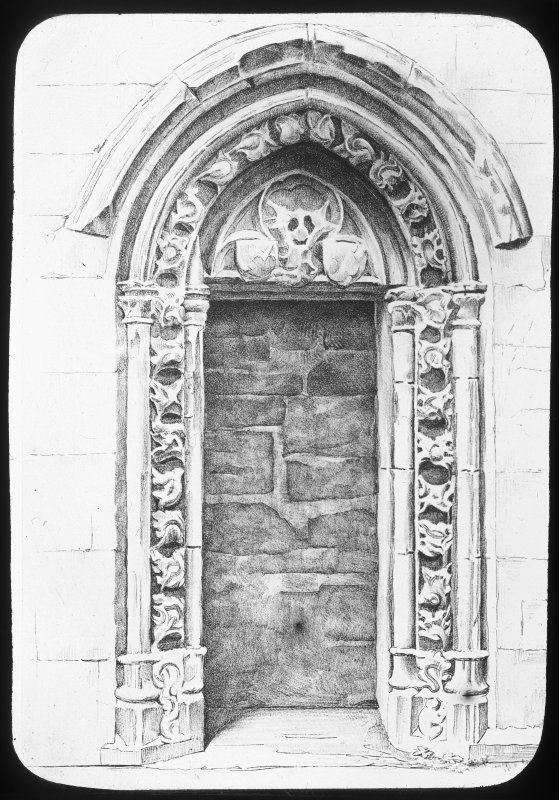 Drawing showing view of sacristy door.