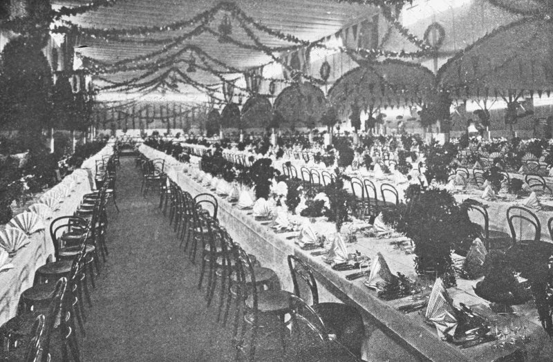 Aberdeen, Broad Street, Marischal College. General view of tables laid for the banquet given by Lord Strartcona, Chancellor.