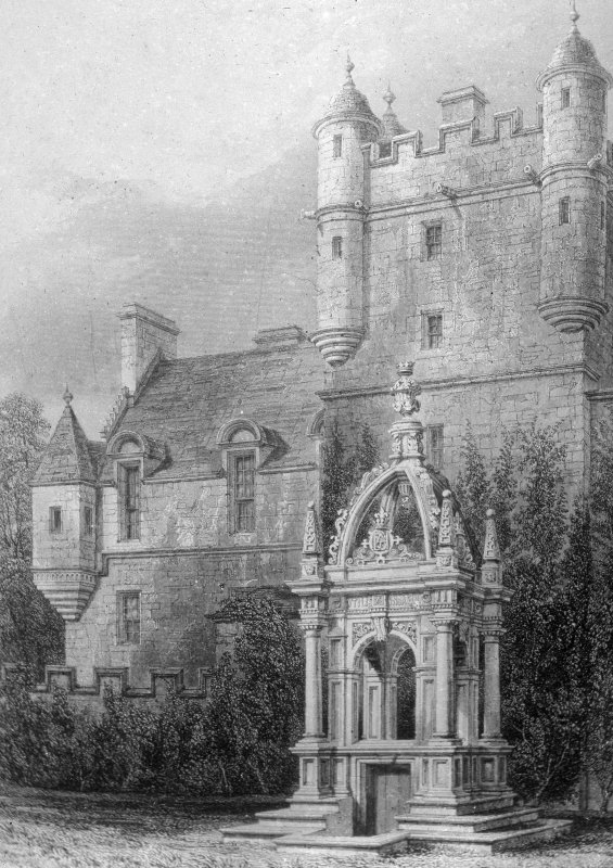 Engraving showing general view of house and well.