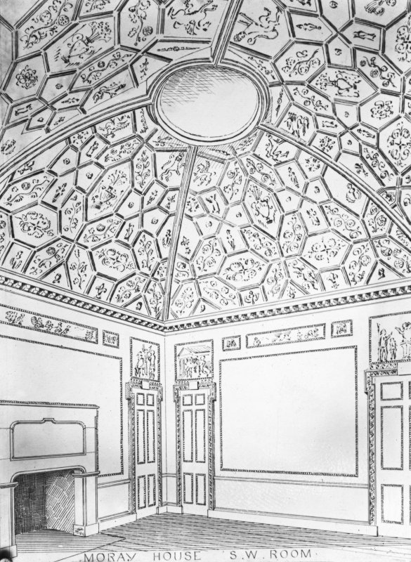 Plaster ceiling, insc: 'Moray House S.W. Room'