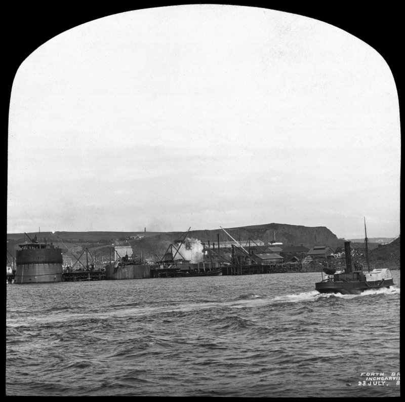 View of construction near to the Inchgarvie Island. Insc. 'Forth Bridge. Inchgarvie. 23 July, 85.' Lantern slide.