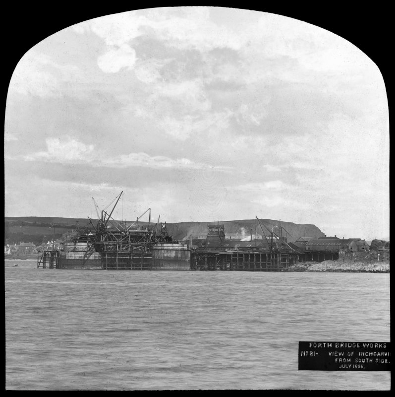 View of construction near to the Inchgarvie Island. Insc. 'Forth Bridge Works. No. 81 - View of Inchgarvie from South side. June 1886.'  Lantern slide.