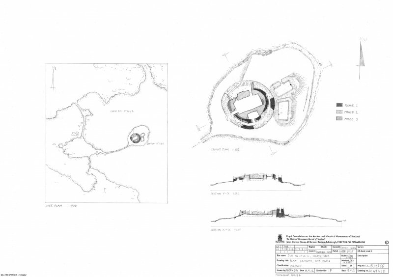 Survey drawing: broch at Dun An Sticer.