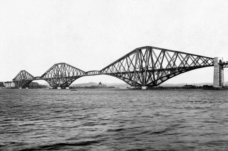 General view of the bridge from the South West. Insc. 'Complete Structure. Registered G.W.W. Trademark.' Lantern slide.