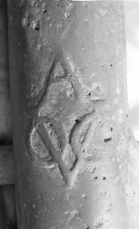 Close up of the A-VOC cipher of the Amsterdam chamber of the Verenigde Oostindische Compagnie (Dutch East India Company), although the ship 				belonged to the Middelburg chamber of the Company, the cipher of which was Z-VOC. This indicates that ordnance was exchanged between the various chambers.