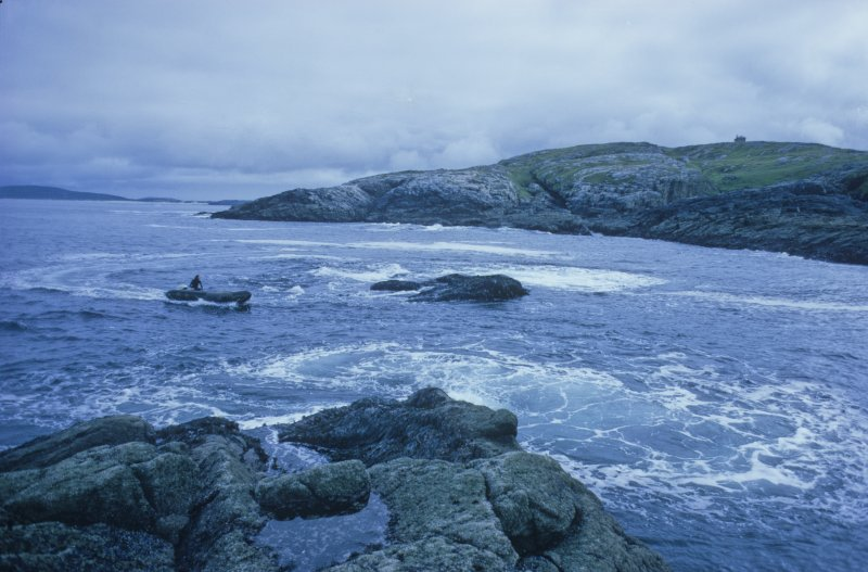Access to the site was by inflatable boat, seen here approaching Low Rock, photographed from Middle Rock.