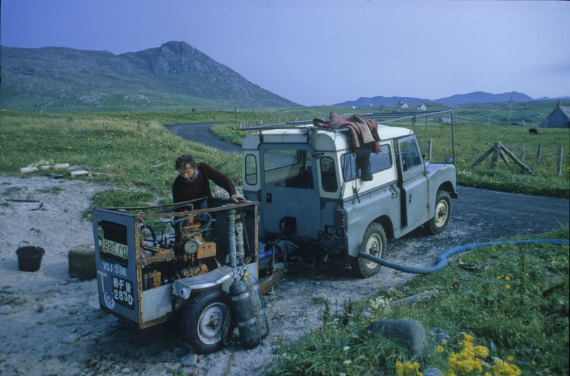 Chris Oldfield, the original finder of the Adelaar, preparing equipment at the project base at Cliad, 2 km east of the wreck-site, from where the operations were conducted