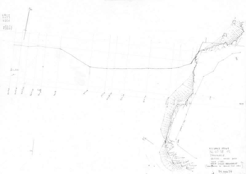 400dpi scan of site plan DC44479 - Plan and section of Tomnaverie Stone Circle