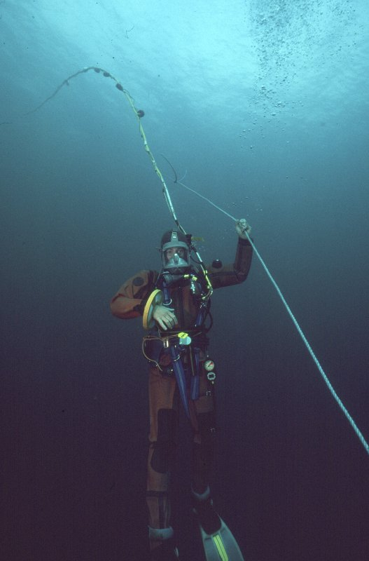 Maritime photographs: Underwater working shot during the investigation of the wreck, Wrangels Palais.  (Received with Archaeological Diving Unit (ADU) papers).
