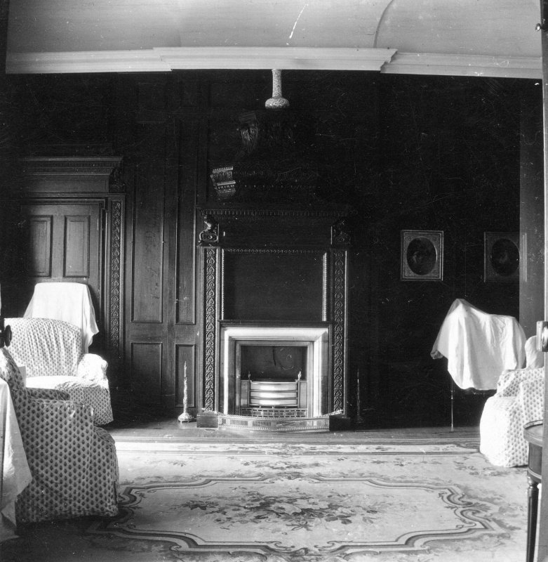 Kinross House, Interior. View of fireplace in drawing-room.
