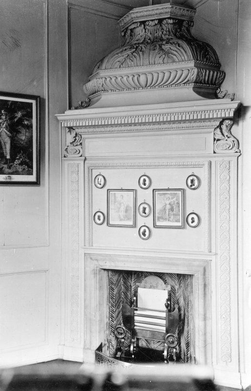 Kinross House, interior. View of fireplace.