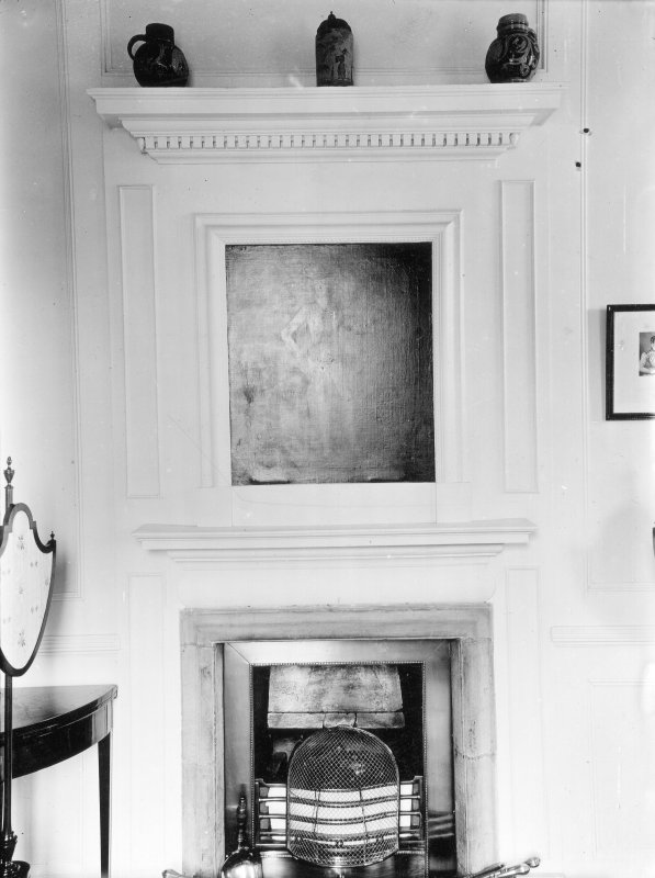 Kinross House, interior. View of fireplace in small drawing-room.