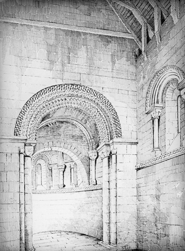 Sketch perspective of church interior