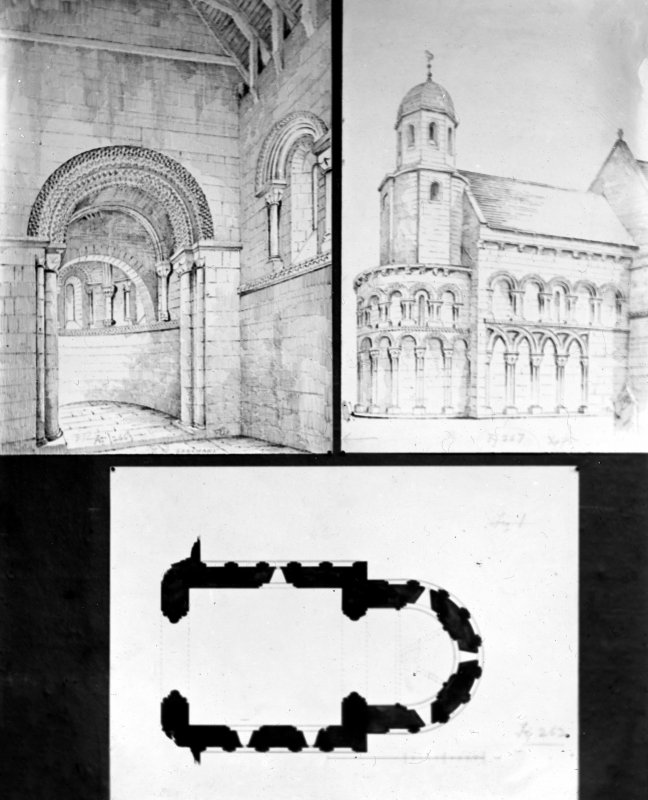 Sketch perspective of church interior; sketch perspective of chancel exterior; plan.