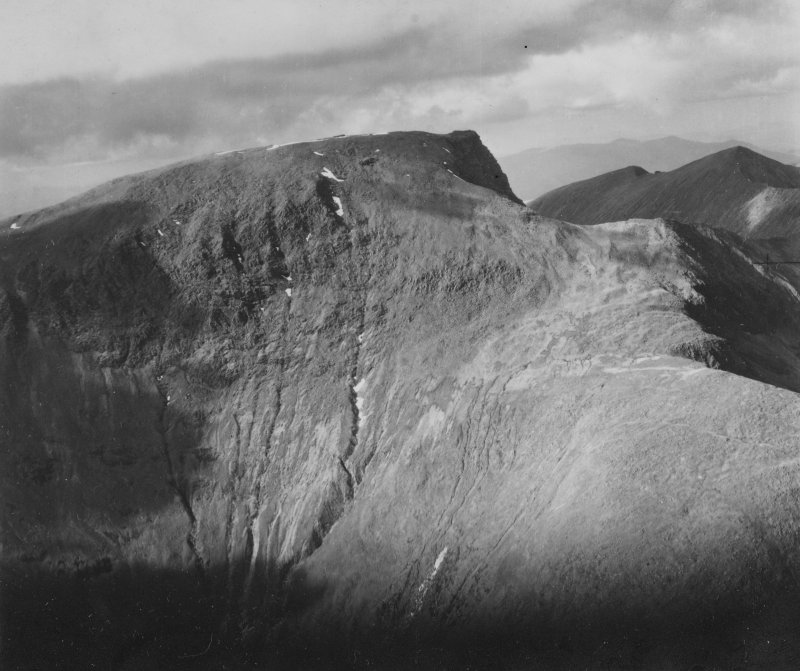 Ben Nevis.  Oblique aerial photograph taken facing north.  This image has been produced from a print.
