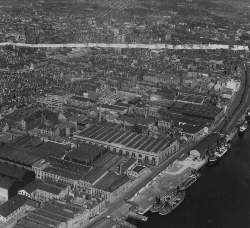 Glasgow, general view, showing Harland and Wolff Diesel Engine Works, Lancefield Street and Lancefield Quay.  Oblique aerial photograph taken facing east.  This image has been produced from a crop marked print.