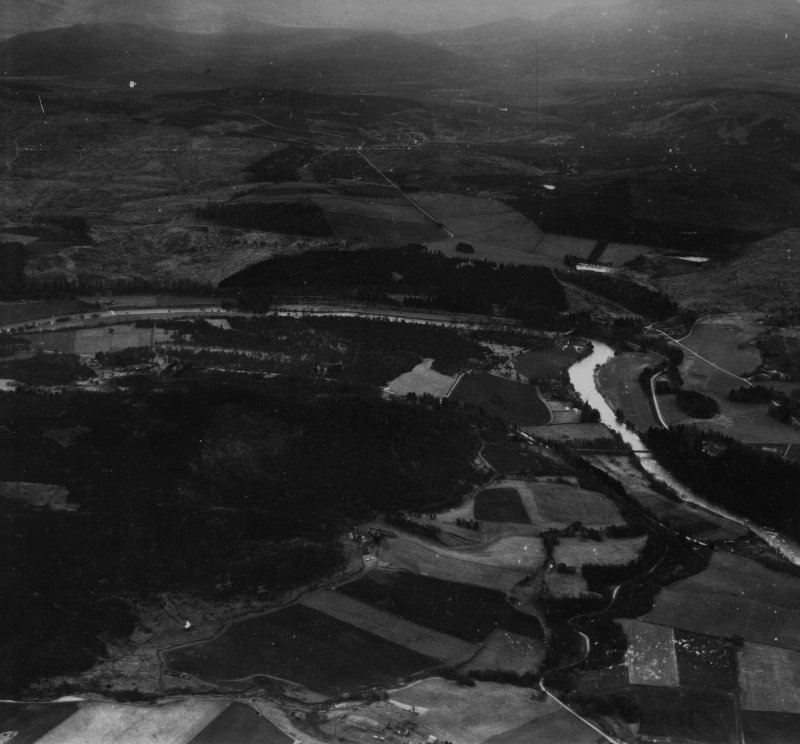 Crathie and Creag a' Chlamhain, Balmoral Estate.  Oblique aerial photograph taken facing south.  This image has been produced from a print.