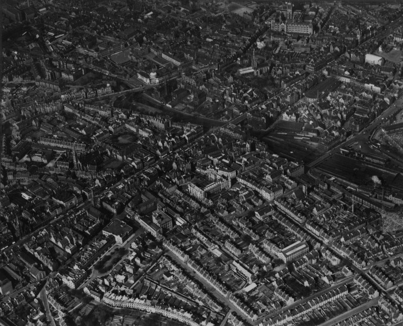 Aberdeen, general view, showing Union Terrace Gardens and Kirk of St Nicholas, Union Street.  Oblique aerial photograph taken facing north-east.  This image has been produced from a print.